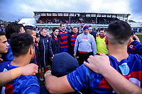 The Rahui team huddles at halftime during the Horowhenua-Kapiti premier club rugby union final between Toa and Rahui at Levin Domain in Levin, New Zealand on Saturday, 28 July 2018. Photo: Dave Lintott / lintottphoto.co.nz