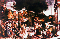 "Vatican:  Sistine Chapel--""Moses Receives the Call"", a fresco by Botticelli in 1481 for walls of the Sistine Chapel."