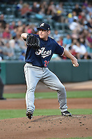 Reno Aces starting pitcher Randy Wolf (26) delivers a pitch to the plate against the Salt Lake Bees at Smith's Ballpark on May 4, 2014 in Salt Lake City, Utah.  (Stephen Smith/Four Seam Images)