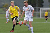 Team Wellington&rsquo;s Aaron Mcdonald and Phoenix&rsquo; Boyd Curry in action during the National Youth League - Phoenix Youth v Team Wellington Youth at Petone Memorial Park, Lower Hutt, New Zealand on Saturday 29 October 2016.<br /> Photo by Masanori Udagawa. <br /> www.photowellington.photoshelter.com.