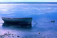 Boat tied in the shallows, Nuku'alofa on Tongan Islands, South Pacific. 1980