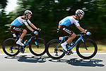 The peloton including Romain Bardet and Tony Gallopin (FRA) AG2R La Mondiale in action during Stage 2 of the 2018 Tour de France running 182.5km from Mouilleron-Saint-Germain to La Roche-sur-Yon, France. 8th July 2018. <br /> Picture: ASO/Alex Broadway | Cyclefile<br /> All photos usage must carry mandatory copyright credit (&copy; Cyclefile | ASO/Alex Broadway)
