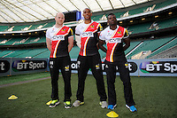 Joe Simpson, Tom Varndell and Christian Wade of London Wasps line up during the Aviva Premiership Rugby London Wasps Sprint Clinic at Twickenham Stadium on Monday 14th April 2014 (Photo by Rob Munro)