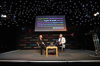 Sunday 25 May 2014, Hay on Wye, UK<br /> Pictured L-R: Fashion designer Julien Macdonald speaks to Dylan Jones.<br /> Re: The Hay Festival, Hay on Wye, Powys, Wales UK.