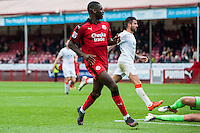 Enzio Boldewijn of Crawley Town (7) Scores his teams second goal of the game  during the Sky Bet League 2 match between Crawley Town and Luton Town at the Broadfield/Checkatrade.com Stadium, Crawley, England on 17 September 2016. Photo by Edward Thomas / PRiME Media Images.