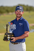 Andrew Landry (USA) holds the trophy for winning the Valero Texas Open, AT&amp;T Oaks Course, TPC San Antonio, San Antonio, Texas, USA. 4/22/2018.<br /> Picture: Golffile | Ken Murray<br /> <br /> <br /> All photo usage must carry mandatory copyright credit (&copy; Golffile | Ken Murray)