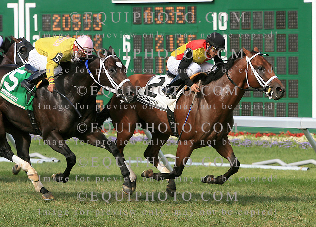 Big Push #2 (R) with Elvis Trujillo riding held off the challenge of #5 Ju Jitsu Jax and Paco Lopez to win the Gilded Time Stakes at Monmouth Park in Oceanport, N.J. on Sunday September 6, 2009.   Photo By Jessica Denver/EQUI-PHOTO