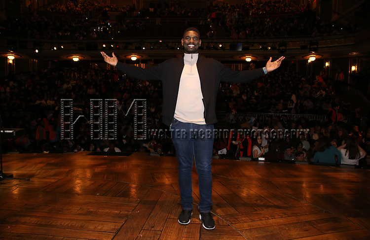 """Carvens Lissaint during The Rockefeller Foundation and The Gilder Lehrman Institute of American History sponsored High School student #eduHam matinee performance of """"Hamilton"""" Q & A at the Richard Rodgers Theatre on December 5,, 2018 in New York City."""