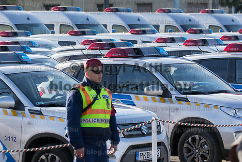 New patrol cars are presented during a ceremony where police officers take oath on Heroes square in Budapest, Hungary on Oct. 9, 2017. ATTILA VOLGYI