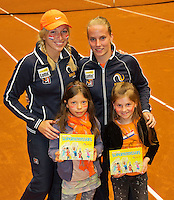 April 18, 2015, Netherlands, Den Bosch, Maaspoort, Fedcup Netherlands-Australia, Boek presentation with Richel Hogenkamp and Michaëlla Krajicek (L)<br />  Photo: Tennisimages/Henk Koster