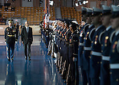United States President Barack Obama is escorted by Army Col. Jason T Garkey as he inspects the Armed Forces Honor Guard during his Armed Forces Full Honor Review Farewell Ceremony at Joint Base Myers-Henderson Hall, in Virginia on January 4, 2017. The five braces of the military honored the president and vice-president for their service as they conclude their final term in office. <br /> Credit: Kevin Dietsch / Pool via CNP