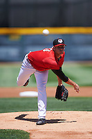 Erie Seawolves starting pitcher Tommy Collier (43) delivers a warmup pitch during a game against the Altoona Curve on July 10, 2016 at Jerry Uht Park in Erie, Pennsylvania.  Altoona defeated Erie 7-3.  (Mike Janes/Four Seam Images)