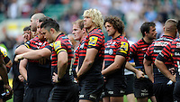 Saracens players look dejected after losing the Aviva Premiership Rugby Final to Northampton Saints at Twickenham Stadium on Saturday 31st May 2014 (Photo by Rob Munro)