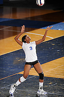 20 November 2008:  Middle Tennessee middle blocker Ashley Asberry (3) serves during the Middle Tennessee 3-0 victory over Arkansas State in the first round of the Sun Belt Conference Championship tournament at FIU Stadium in Miami, Florida.