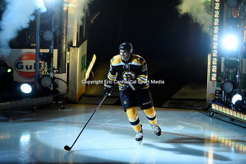 Thursday, October 8, 2015: Boston Bruins center Zac Rinaldo (36) takes the ice for the season opening game between the Winnipeg Jets and the Boston Bruins held at TD Garden, in Boston, Massachusetts. Winnipeg defeated Boston 6-2 in regulation time. Eric Canha/CSM
