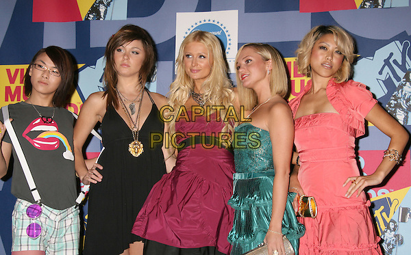 PARIS HILTON & her New Bestfriends.2008 MTV Video Music Awards held at Paramount Studios, Hollywood, California, USA..September 7th, 2008.VMA Vmas half length pink purple dress necklace strapless black green grey gray suspenders braces.CAP/ADM/MJ.©Michael Jade/AdMedia/Capital Pictures.