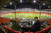 Commentator Phil Catchpole & Wycombe Media Manager Matt Cecil during the The Checkatrade Trophy match between Blackpool and Wycombe Wanderers at Bloomfield Road, Blackpool, England on 10 January 2017. Photo by Andy Rowland / PRiME Media Images.