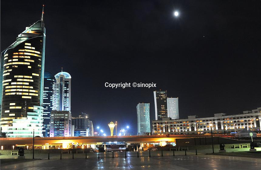 Astana, the capitol of Kazakstan seen at night-time.<br /> <br /> PHOTO BY RICHARD JONES/SINOPIX