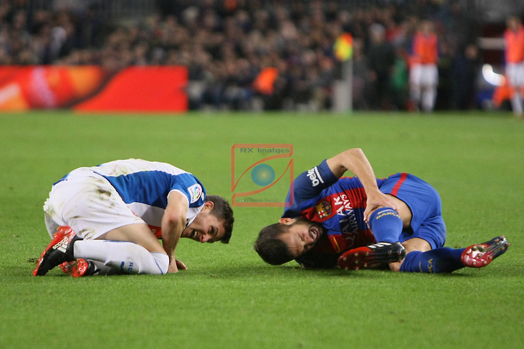 League Santander 2016/2017. Game: 16.<br /> FC Barcelona vs RCD Espanyol: 4-1.<br /> Pablo Piatti vs Jordi Alba.