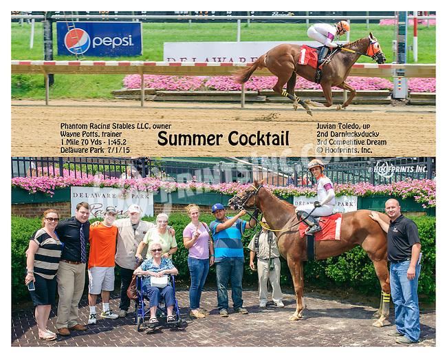 Summer Cocktail winning at Delaware Park on 7/1/15