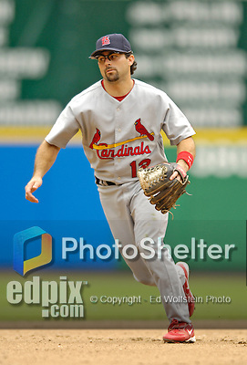 4 September 2006: Aaron Miles, infielder for the St. Louis Cardinals, in action against the Washington Nationals. The Nationals defeated the Cardinals 4-1 at Robert F. Kennedy Memorial Stadium in Washington, DC. ..Mandatory Photo Credit: Ed Wolfstein..