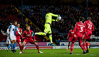 Nottingham Forest's goalkeeper Brice Samba cuts out a cross<br /> <br /> Photographer Andrew Kearns/CameraSport<br /> <br /> The EFL Sky Bet Championship - Blackburn Rovers v Nottingham Forest - Tuesday 1st October 2019  - Ewood Park - Blackburn<br /> <br /> World Copyright © 2019 CameraSport. All rights reserved. 43 Linden Ave. Countesthorpe. Leicester. England. LE8 5PG - Tel: +44 (0) 116 277 4147 - admin@camerasport.com - www.camerasport.com