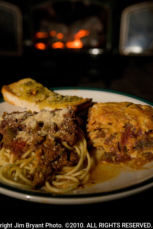 Lasagna, Spaghetti Rigati with meat sauce and garlic bread. . Jim Bryant Photo. ©2010. All Rights Reserved.