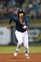 Third baseman Mark Vientos (13) of the Columbia Fireflies runs the bases in a game against the Lexington Legends on Friday, May 3, 2019, at Segra Park in Columbia, South Carolina. Lexington won, 5-2. (Tom Priddy/Four Seam Images)