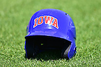 A Iowa Cubs batting helmet sits on the field prior to the New Orleans Zephyrs game against the Iowa Cubs at Principal Park on April 23, 2015 in Des Moines, Iowa.  The Zephyrs won 9-2.  (Dennis Hubbard/Four Seam Images)