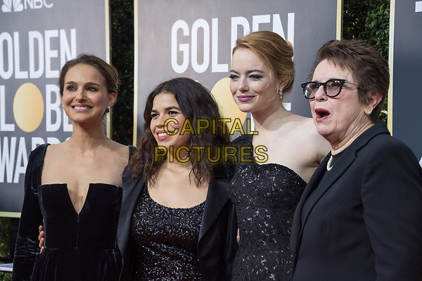 Natalie Portman, America Ferrera, Emma Stone, nominated for BEST PERFORMANCE BY AN ACTRESS IN A MOTION PICTURE &ndash; COMEDY OR MUSICAL for her role in &quot;Battle of the Sexes,&quot; and Billie Jean King arrive at the 75th Annual Golden Globe Awards at the Beverly Hilton in Beverly Hills, CA on Sunday, January 7, 2018.<br /> *Editorial Use Only*<br /> CAP/PLF/HFPA<br /> &copy;HFPA/PLF/Capital Pictures