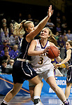 SIOUX FALLS, SD - MARCH 19: Laina Snyder #3 from Ashland eyes the basket around the defense of Vanessa Stavish #15 from Montana State University Billings during their quarterfinal game at the 2018 Elite Eight Women's NCAA DII Basketball Championship at the Sanford Pentagon in Sioux Falls, SD. (Photo by Dave Eggen/Inertia)