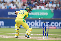 Jason Behrendorff (Australia) is bowled by Mark Wood during Australia vs England, ICC World Cup Semi-Final Cricket at Edgbaston Stadium on 11th July 2019