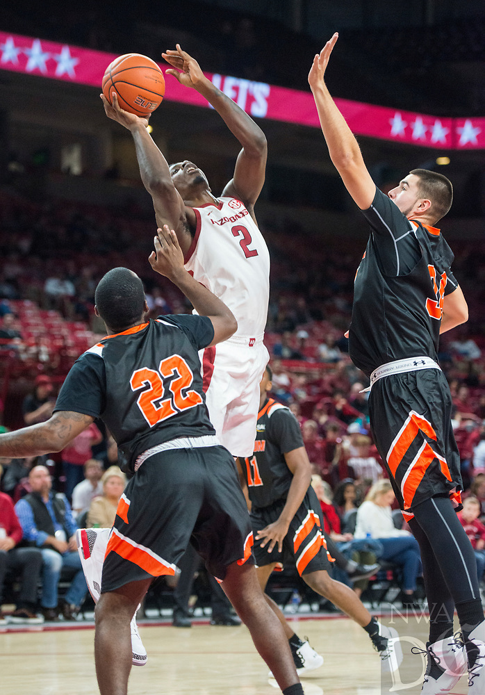 NWA Democrat-Gazette/BEN GOFF @NWABENGOFF <br /> Adrio Bailey (2) of Arkansas shoots in the second half vs Tusculum Friday, Oct. 26, 2018, during an exhibition game in Bud Walton Arena in Fayetteville.