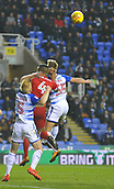 31st October 2017, Madejski Stadium, Reading, England; EFL Championship football, Reading versus Nottingham Forest; Paul McShane of Reading, Sam Smith of Reading and Michael Mancienne of Nottingham Forest compete in the air