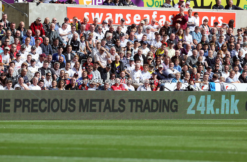 Saturday 23 August 2014<br /> Pictured: New giant screen and new LED advertising boards at the stadium.<br /> Re: Barclay's Premier League, Swansea City FC v Burnleyy at the Liberty Stadium, south Wales, UK.