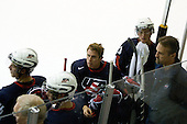Dean Blais (US - Head Coach), Cam Fowler (US - 16), John Moore (US - 14), David Warsofsky (US - 5), Adam Comrie (US - 23), Mark Osiecki (US - Assistant Coach) - Team USA defeated Team Russia 8-1 in their first game during the 2009 USA Hockey National Junior Evaluation Camp on Tuesday, August 11, 2009, in the USA Rink (NHL-sized) at Lake Placid, New York.