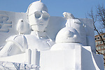 February 3, 2019, Sapporo, Japan - A large snow sculpture of characters of Star Wars is displayed at the 70th annual Sapporo Snow Festival in Sapporo in Japan's nortern island of Hokkaido on Sunday, February 3, 2019. The week-long snow festival will open on February 4 through February 11 and over 2.5 million people are expecting to visit the festival.   (Photo by Yoshio Tsunoda/AFLO) LWX -ytd-