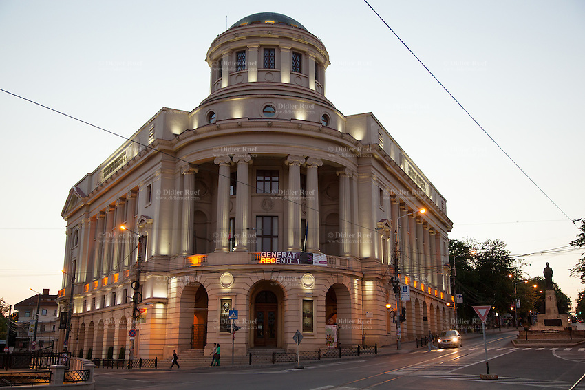 Romania. Iași County. Iasi. Sunset and twilight on the Mihai Eminescu Central University Library. Founded in 1835 as Library of the Academia Mihăileană, Mihai Eminescu Central University Library holds about 2.5 million volumes that form the main collection and an old and rare collection, from the 15th to the 19th centuries, of over 100,000 Romanian and foreign documents, manuscripts, books, albums, maps, stamps, archive items. The Central University Library of Iași, where the chief records of Romanian history are preserved, is the oldest and the second largest in Romania. Iași (also referred to as Iasi, Jassy or Iassy) is the largest city in eastern Romania and the seat of Iași County. Located in the Moldavia region, Iași has traditionally been one of the leading centres of Romanian academic life. The city was the capital of the Principality of Moldavia from 1564 to 1859, then of the United Principalities from 1859 to 1862, and the capital of Romania from 1916 to 1918. 5.06.15 © 2015 Didier Ruef