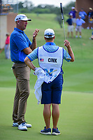 Stewart Cink (USA) talks with his caddie following round 2 of the Valero Texas Open, AT&amp;T Oaks Course, TPC San Antonio, San Antonio, Texas, USA. 4/21/2017.<br /> Picture: Golffile | Ken Murray<br /> <br /> <br /> All photo usage must carry mandatory copyright credit (&copy; Golffile | Ken Murray)