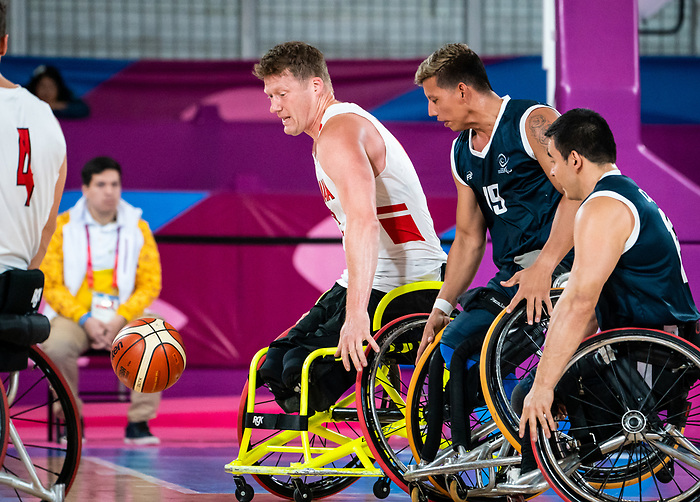 Lima, Peru -  30/August/2019 -   Canada takes on Colombia in the semifinal of men's wheelchair basketball at the Parapan Am Games in Lima, Peru. Photo: Dave Holland/Canadian Paralympic Committee.