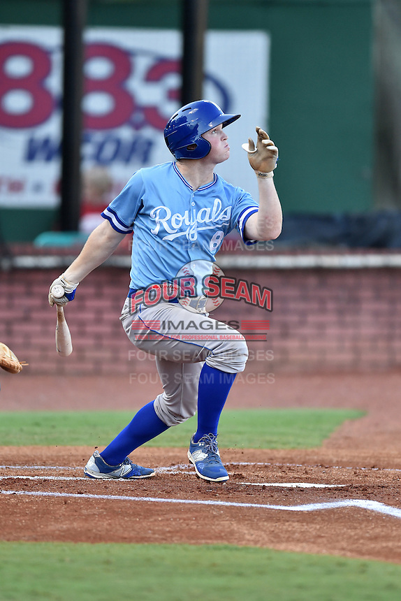 Burlington Royals right fielder Kort Peterson (8) swings at a pitch during game against the Elizabethton Twins at Joe O'Brien Field on August 24, 2016 in Elizabethton, Tennessee. The Royals defeated the Twins 8-3. (Tony Farlow/Four Seam Images)