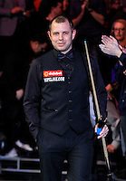 Barry Hawkins enters the arena before the final session during the Dafabet Masters FINAL between Barry Hawkins and Ronnie O'Sullivan at Alexandra Palace, London, England on 17 January 2016. Photo by Liam Smith / PRiME Media Images