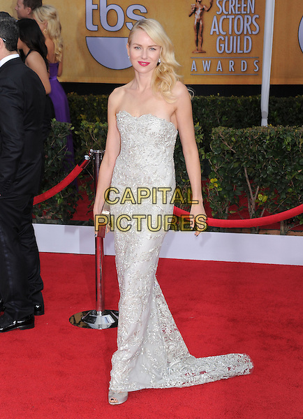 Naomi Watts (wearing Marchesa).Arrivals at the 19th Annual Screen Actors Guild Awards at the Shrine Auditorium in Los Angeles, California, USA..27th January 2013.SAG SAGs full length grey gray lace strapless dress silver clutch bag  .CAP/DVS.©DVS/Capital Pictures.