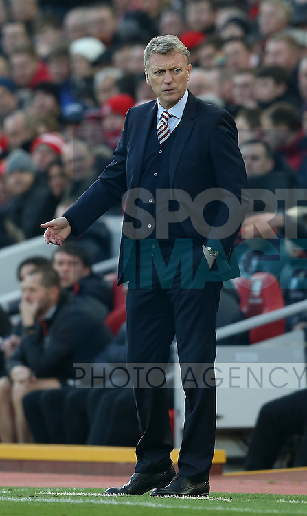 David Moyes manager of Sunderland during the Premier League match at the Anfield Stadium, Liverpool. Picture date: November 26th, 2016. Pic Simon Bellis/Sportimage