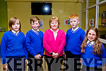The students from Sliabh a' Mhadra National School Ballyduff attending the ISTA Primary Schools Annual Science Quiz in the IT Tralee's South campus on Thursday night last. L-r, Alex Freemantle, Ryan Healy, Breda O'Dwyer (Principal), Oisin O'Callaghan and Siun Toomey.