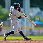 4 July 2012: Hudson Valley Renegades designated hitter Justin O'Conner in action against the Vermont Lake Monsters at Centennial Field in Burlington, Vermont. The Lake Monsters edged out the Renegades the Cyclones 2-1 in NY Penn League action. Mandatory Credit: Ed Wolfstein Photo