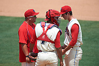 Clearwater Threshers pitching coach Aaron Fultz (61), catcher Gabriel Lino (7), and starting pitcher Matt Imhof (48) during a game against the Daytona Tortugas on April 20, 2016 at Bright House Field in Clearwater, Florida.  Clearwater defeated Daytona 4-2.  (Mike Janes/Four Seam Images)