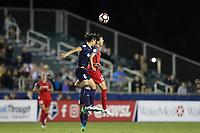 Cary, NC - Saturday April 22, 2017: Abby Erceg (6) and Christine Sinclair (12) challenge for a header during a regular season National Women's Soccer League (NWSL) match between the North Carolina Courage and the Portland Thorns FC at Sahlen's Stadium at WakeMed Soccer Park.