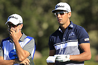 Rafa Cabrera-Bello (ESP) and caddy Colin Byrne on the 6th tee at Pebble Beach course during Friday's Round 2 of the 2018 AT&amp;T Pebble Beach Pro-Am, held over 3 courses Pebble Beach, Spyglass Hill and Monterey, California, USA. 9th February 2018.<br /> Picture: Eoin Clarke | Golffile<br /> <br /> <br /> All photos usage must carry mandatory copyright credit (&copy; Golffile | Eoin Clarke)