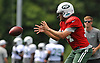 Ryan Fitzpatrick #14, New York Jets quarterback, takes a snap during training camp at Atlantic Health Jets Training Center in Florham Park, NJ on Wednesday, Aug. 17, 2016.